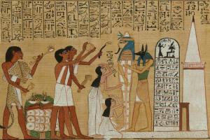 `Het openen van de mond' ritueel, van de Hunefer-papyrus, ± 1280 v.C.